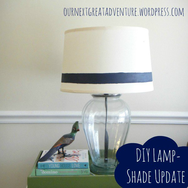 Lamp Shade Update - DIY Painted Navy Stripe